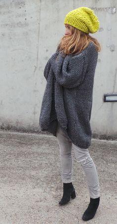 Gris encombrant chunky tricoter pull avec manches par ileaiye