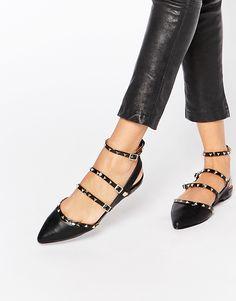 Image 1 ofALDO Zerah Black Studded Flat Black Shoes