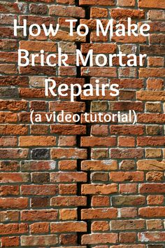 Watch this video to learn how to fix crumbling mortar and repair cracks in your brick walls.
