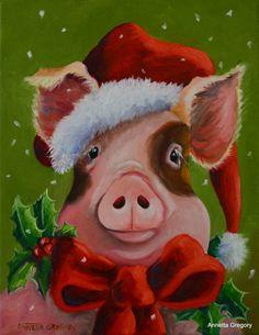 The Christmas Pig - Annetta Gregory Fine Art