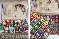 Caixa para materiais de bordado feita em cartonagem pela nossa aluna Marlene / Curso de Bordado Livre / Curso de Cartonagem