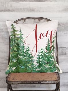 Pillow Cover Christmas Tree Joy by JolieMarche on Etsy