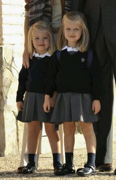 "September 15, 2010 - Infanta Sofía of Spain Attends Her 1st Day at School ~ Infanta Sofía (L) & Princess Leonor arrive at ""Santa María de los Rosales"" School in Aravaca, near Madrid, Spain"