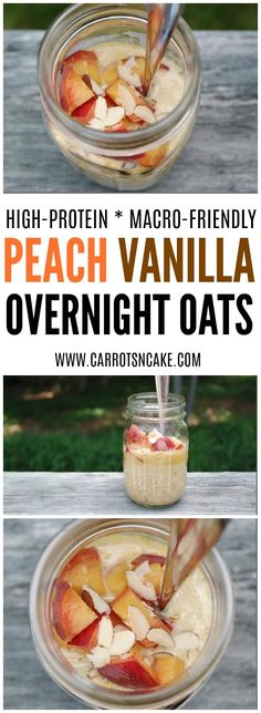 The Rise Of Private Label Brands In The Retail Meals Current Market Peach Vanilla Almond Protein Overnight Oats Overnight Oats Almond Milk, Vanilla Overnight Oats, Protein Overnight Oats, Overnight Oats In A Jar, Healthy Breakfast Recipes, Healthy Recipes, Healthy Breakfasts, Breakfast Smoothies, Juice Recipes