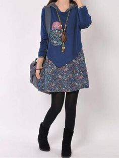 Women Casual Floral Printed Stitching Linen Hooded Long Sleeve Dress