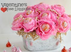 Another fun idea for teacher —instead of an ordinary bouquet, use pink crepe paper and tape to form a lollipop flower arrangement that's got an extra sweet touch. Get the tutorial at Creative Me Inspired You. Valentine Day Crafts, Be My Valentine, Holiday Crafts, Valentine Roses, Valentine Nails, Valentine Ideas, Holiday Decorations, Crafts To Make, Fun Crafts