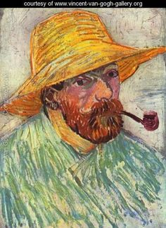Vincent van Gogh Online, Self-Portrait with Pipe and Straw Hat Oil Paintings Only For Art Lovers! This is a non-profits site and shows all the paintings of Vincent van Gogh's art works. Rembrandt, Van Gogh Portraits, Van Gogh Self Portrait, Vincent Van Gogh, Van Gogh Museum, Van Gogh Art, Art Van, Van Gogh Pinturas, Graffiti Kunst