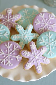 Simply beautiful pastel snowflake cookies! Perfect for a Frozen party or any winter or Christmas party!