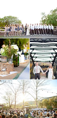 Nearly perfect. WHAT I LIKE - Grey & Cream Dresses, Guys in sneakers and with no jackets, Hydrangas, Outdoor, Dessert spread, Frame photo booth, Mason jars, Candle holders w/ tarnished silver. THINGS I HATE - Pennants, Burlap. Not sure about the wood.