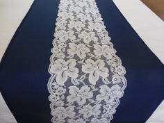 Wedding table runner navy blue and white lace bridal shower beach wedding table…