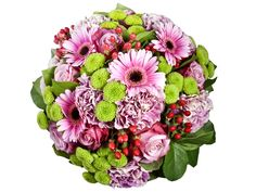 Rose Inspiration - A bouquet of scented beauty with roses, gerberas and carnations.all in pink. Delivered in the Netherlands. Send Flowers, Fresh Flowers, Beautiful Flowers, Valentine Day Gifts, Valentines, Christmas Flowers, Buy Roses, White Lilies, Romantic Gifts