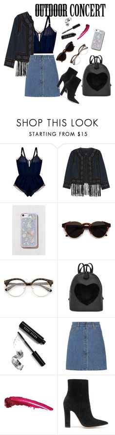 """Hippie Chiq Outdoor Concert Look"" by blckpnd ❤ liked on Polyvore featuring Curriculum Vitae, Haute Hippie, Urban Outfitters, RetroSuperFuture, Bobbi Brown Cosmetics, Miu Miu, Gianvito Rossi, 60secondstyle and outdoorconcerts"
