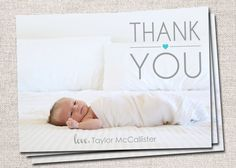 Photo Baby Thank You Card: PRINTABLE (Heart Baby Gift Thank You Card)
