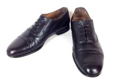BRAGANO-Shoes-LEATHER-Black-COLE-HAAN-Lace-Up-ITALY-Cap-Toe-OXFORDS-Mens-10-5-M