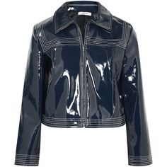 GANNI Cropped faux patent-leather jacket (2.190 DKK) ❤ liked on Polyvore featuring outerwear, jackets, shiny jacket, zipper jacket, zip jacket, ganni and ganni jacket