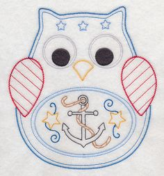 2 Adorable Patriotic 4th of July owls fabric sewing quilt blocks squares RQQ™