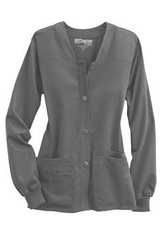 Greys Anatomy button-front v-neck scrub jacket Scrubs Outfit, Scrubs Uniform, Grey's Anatomy 4, Stylish Scrubs, Dental Life, Cute Scrubs, Scrub Jackets, Work Uniforms, Medical Scrubs