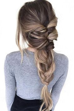 Twisted Pull Through Braid Ponytail - Everyday Hairstyles for Women Long Hair - Beauty Pretty Hairstyles, Braided Hairstyles, Hairstyle Ideas, Modern Hairstyles, Spring Hairstyles, Hair Ideas, Hairstyles 2018, Braided Locs, Hair Colors