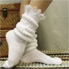 CUDDLY BUNNY lace slouch socks - white - Boot cuff socks - with boots… Slouch Socks, Lace Boot Socks, Cozy Socks, Ankle Socks, Black And White Socks, White Boots, White Lace, White Cotton, Frilly Socks