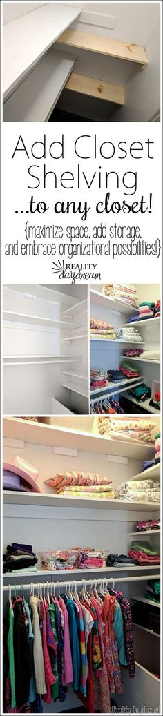 diy shelves You can add SO MUCH STORAGE to any basic closet by adding easy shelving to maximize space and organization! Closet Shelves, Closet Storage, Bedroom Storage, Diy Storage, Closet Organization, Extra Storage, Storage Ideas, Organization Ideas, Closet Doors