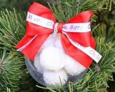 """Sweet Christmas decoration. Plastic globe with """"Noix de coco"""" bonbons and a pretty ribbon"""