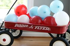 Project Nursery - Red Wagon 1st Birthday Party Balloons