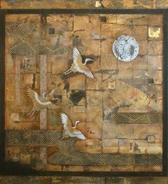 """""""Calligraphy of geese  against the sky –  the moon seals it""""  Yosa Buson (1716~1783)  Mixed Media and Obi on Canvas  76cm x 84cm  2014  Nerina Lascelles  Tumblr"""