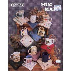 Cross Stitch : 11 Mug Mats Cloth Coasters Cross Stitch Patterns Cattails Hearts Flowers etc