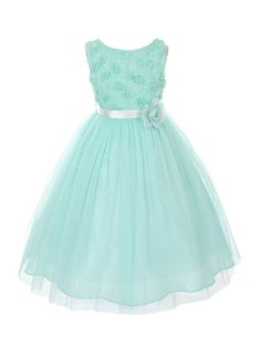 Gorgeous bonaz bodice and soft tulle skirt special occasion flower girl dress in a beautiful mint color (sz.2-12) ~ Perfect for graduation, wedding, #Easter ~ Made in the USA ~ Color Me Happy Boutique