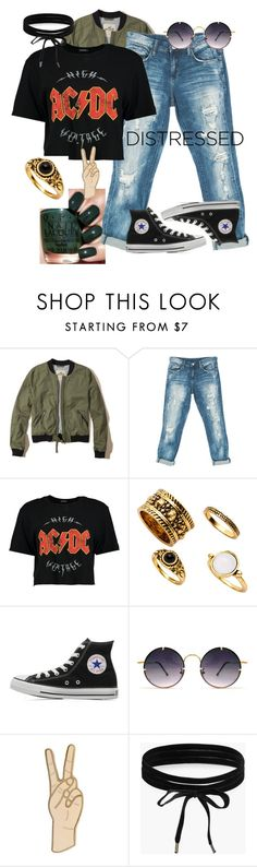 """""""Highway to Hell"""" by mewalkprettyspeakweird ❤ liked on Polyvore featuring Hollister Co., Sans Souci, Boohoo, Converse, Spitfire and Lucky Brand"""