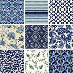 Indigo blue and white fabrics