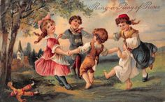 Ring-a-Ring of Roses children playing game by PFB embossed antique pc Z23936