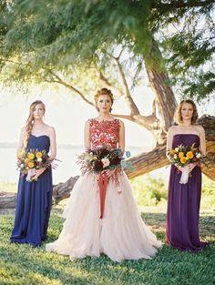 Jewel Toned Fall Wedding | Jeff Brummett Visuals | http://heyweddinglady.com/bold-colors-floral-wedding-dress-fall/