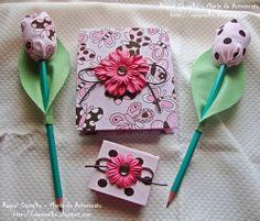 Kit bloquinho, porta post-it, lápis tulipa - marrom/rosa