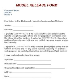 Lovely Model Release Form. Photography ContractPhotography ...