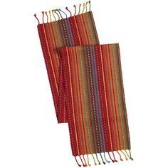 Multi-Stripe Table Runner with Fringe End