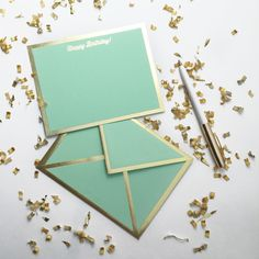 Wish happy birthday in style with this fresh mint and gold birthday card. - Flat…