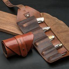 Leather Pocket Knife Tool Roll - US Made  - Garrett Wade