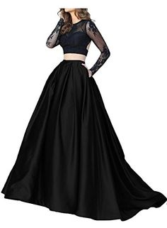 Trumpet VBack Long Sleeves Black Lace TwoPiece Prom Dress *** To view further for this item, visit the affiliate link Amazon.com.