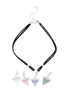 Black O-Ring Crystal Triangle Interchangeable Suede Choker,