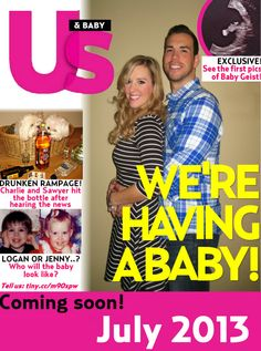 I am going to make one of these, set it on the coffee table & invite family over for dessert (to be had at the coffee table) & see how long it takes someone to notice! ::::Tabloid Baby Announcement - Funny Pregnancy Announcement Creative