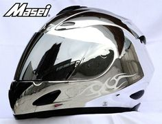 MASEI 802 DOT MOTORCYCLE HELMET CHROME SILVER JACK M L XL