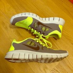 Nike Free 5.0 (GS) Kids Nike Free 5.0 size 5.5. Neon yellow color. Pre loved but still in great condition. Worn only a few times. Still have the box! Nike Shoes Sneakers