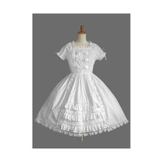 Pure White Short Sleeves Round Neck Sweet Lolita Dress Puff Hem With... (400 CNY) via Polyvore featuring dresses, round neck short sleeve dress, round neck lace dress, lacy white dress, short-sleeve dresses and white day dress