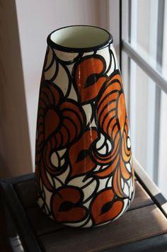 SMF Schramberg Blattmotive ♦♦ grosse Vase 30cm ♦♦ TOP-Zustand