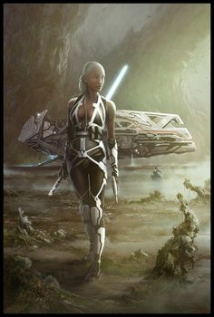 Afrofuturism Art And Cyberpunk Star Wars Rpg, Star Wars Fan Art, Star Wars Jedi, Star Wars Characters Pictures, Star Wars Images, Arte Sci Fi, Sci Fi Art, Cyberpunk, Character Art
