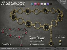Maxi Gossamer Hip Chain - Tokyo Party Night - #Secondlife