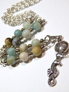 Seahorse Necklace  Silver  With Amazonite by MURPHYSTREASURES2, $20.00
