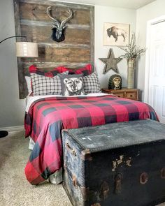 Looking for some home inspiration? Check out our friends over at for great examples of mixing bargain finds with name brand home decor. And yes thats a floor lamp from Walmart the lamp her Farmhouse Style Bedrooms, Farmhouse Bedroom Decor, Bedroom Themes, Kids Bedroom, Bedroom Ideas, Big Boy Bedrooms, Bedroom Loft, Plaid Bedroom, Decoration Inspiration