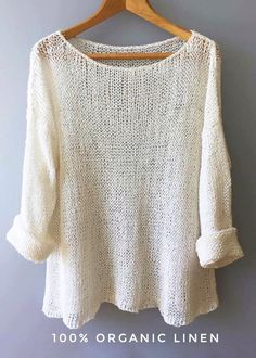 Oversized knit Linen sweater,Boucle Linen Knit White sweater Women sweater Boho sweater Eco linen flax Vegan Natural fibers Organic Source by varivodamar summer White Sweater Women, White Knit Sweater, White Sweaters, Sweaters For Women, Boho Pullover, Sweater Making, Pulls, Vogue Knitting, Knitwear